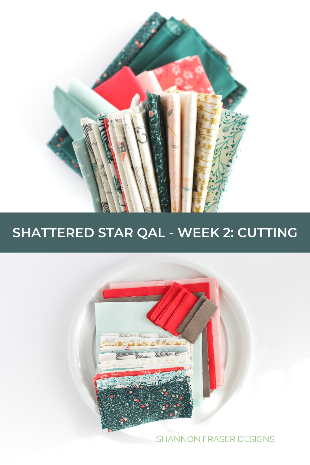 Art Gallery Fabrics before being cut and after being cut | Shattered Star Quilt Along Week 2 Part 2: How to cut your fabric | Shannon Fraser Designs #artgalleryfabrics