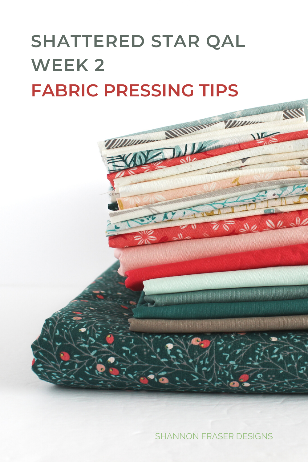 Stack of Art Gallery Fabrics ready to be pressed | Shattered Star QAL - Week 2: Part 1 - How to press your fabric | Shannon Fraser Designs #artgalleryfabrics