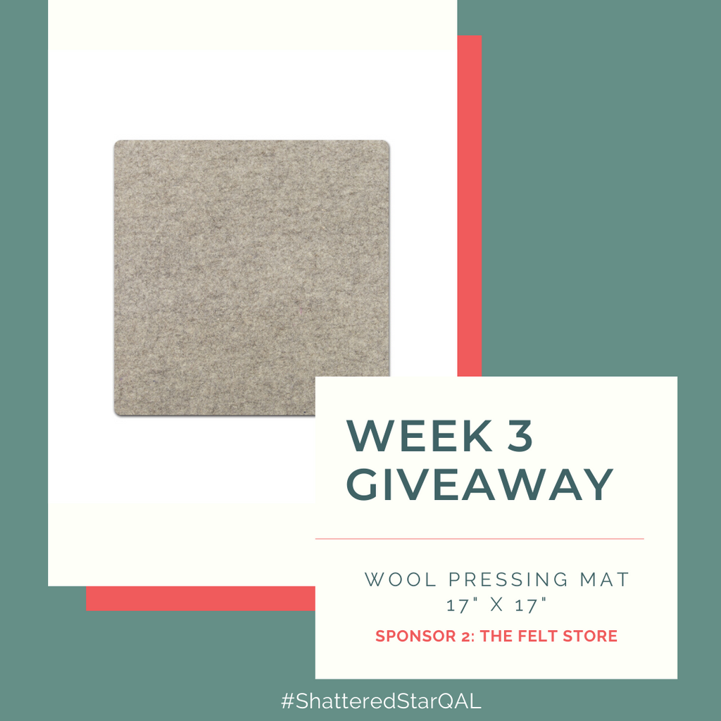 Wool pressing mat from The Felt Store for the Shattered Star Quilt Along Week 3 Giveaway sponsor | Shannon Fraser Designs #woolpressingmat