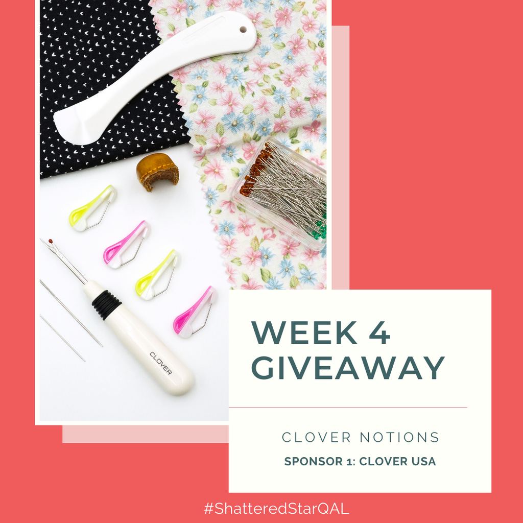 Clover Notions: hera marker, leather thimble, seam ripper, quilting pins, quick pins all part of the Shattered Star QAL week 4 giveaway | Shannon Fraser Designs #sewingnotions