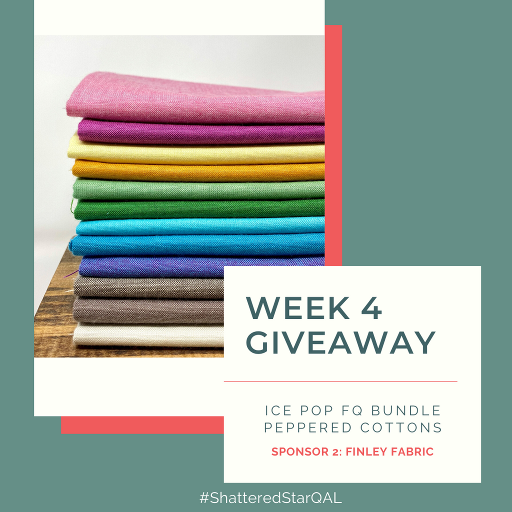 Stack of Peppered Cotton Fat Quarters from Finley Fabrics | Shattered Star Quilt Along Week 4 Giveaway | Shannon Fraser Designs #fatquarterbundle