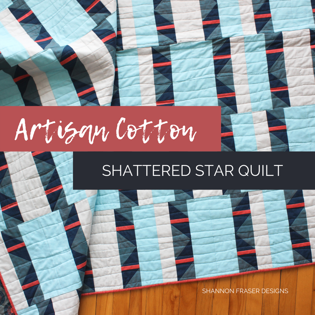 Shattered Star Quilt the Blue and Coral Artisan Cotton one   Shannon Fraser Designs #modernquiltpattern