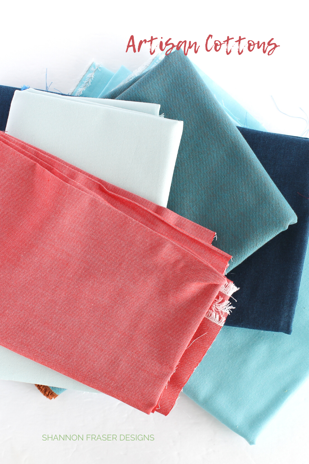 Artisan Cottons in coral, light blue, turquoise, teal and navy featured in the Shattered Star quilt   Shannon Fraser Designs #quiltingcotton