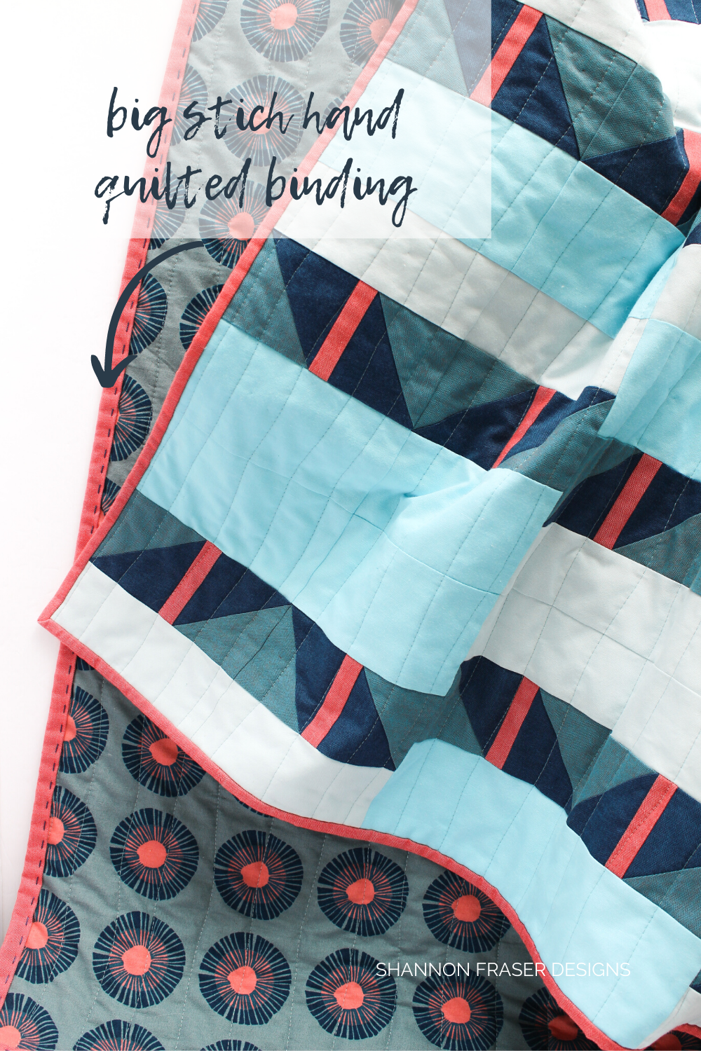 Big stich hand quilted binding on the Shattered Star quilt the blue and coral Artisan Cotton one! So fun to add these quilty details and it's super fast too! #bigstitchhandbinding