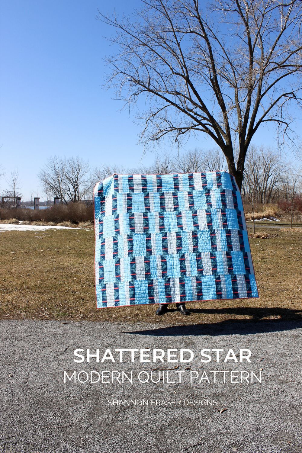 Shattered Star Quilt the blue and coral Artisan Cotton one out in the early Spring wild   Modern Quilt Pattern by Shannon Fraser Designs #quiltsinthewild