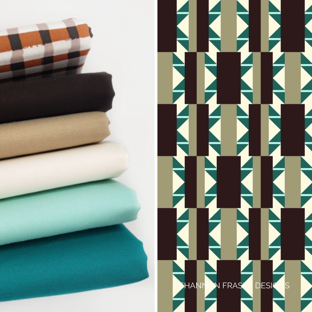Shattered Star quilt bundle featuring Bella Solids in shades of turquoise, creams and brown from Stacked Fabric Co. |  Shattered Star Quilt Along Week 1: Fabric | Shannon Fraser Designs #quiltkit