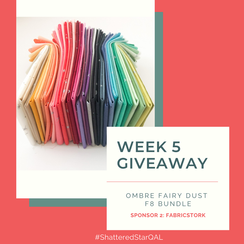Shattered Star Quilt Along Week 5 Giveaway - Ombre fairy dust Fat Eight bundle from FabricStork | Shannon Fraser Designs #f8bundle