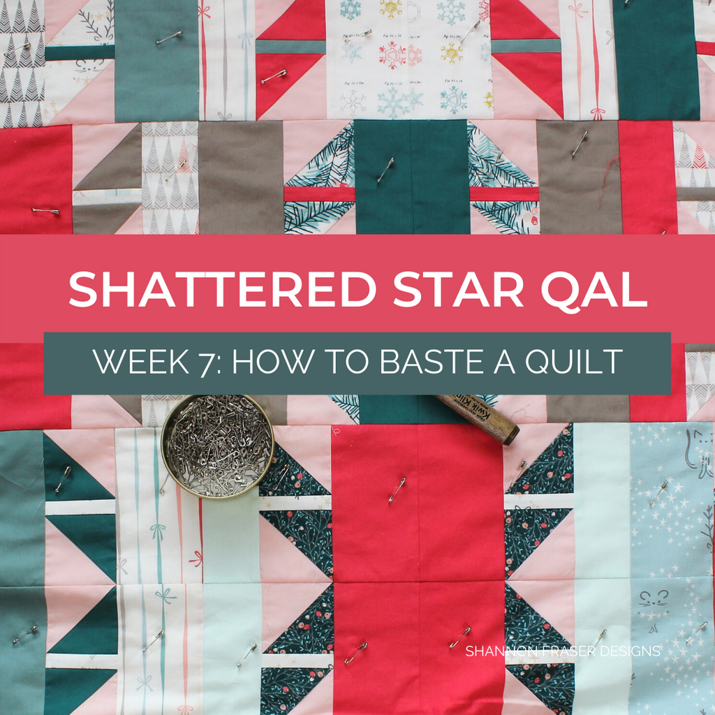 Holiday Shattered Star quilt getting pin basted | Shattered Star Quilt Along Week 7: How to baste your quilt | Shannon Fraser Designs #quilttutorial