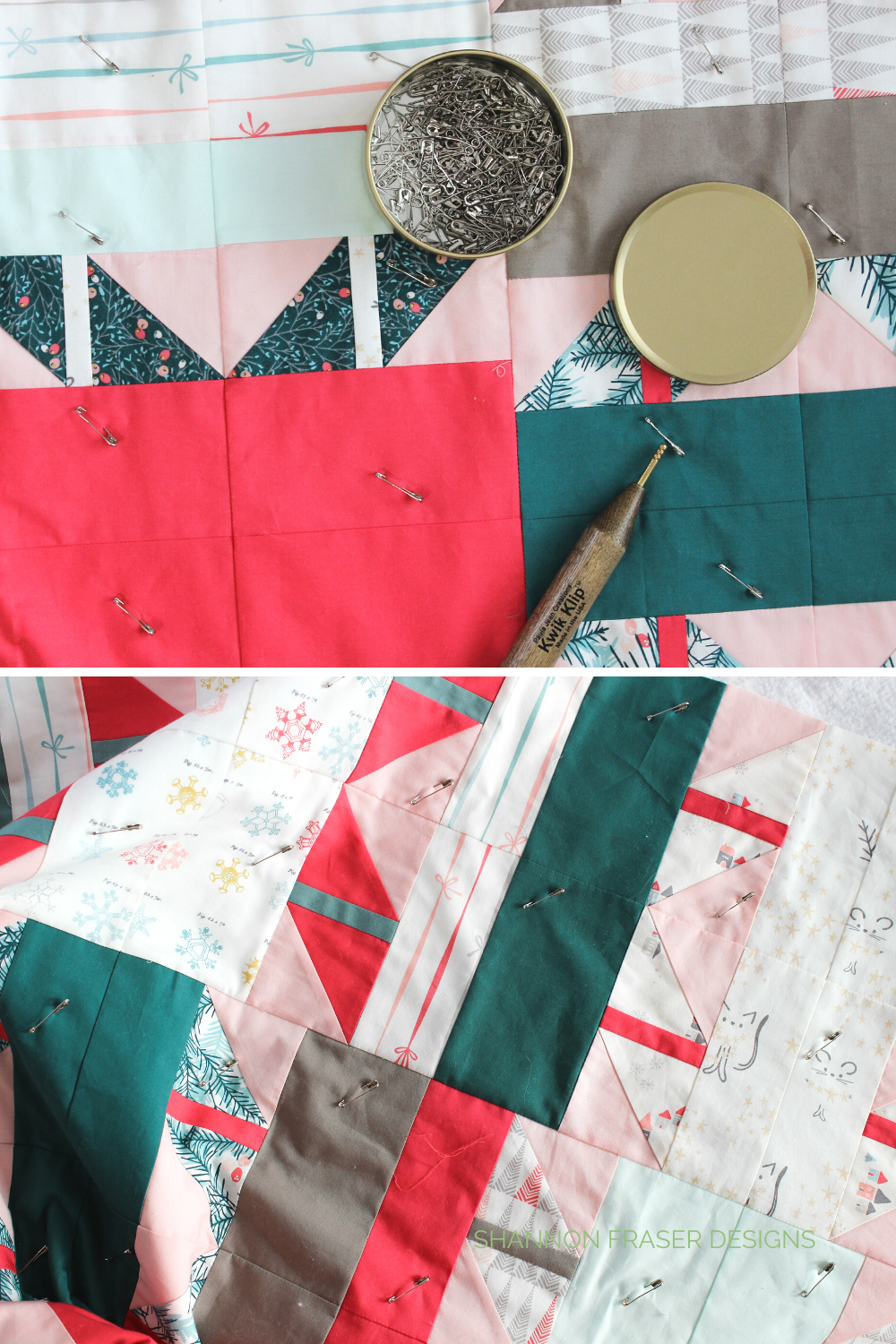 Holiday Shattered Star quilt getting the pin basting treatment! | Shattered Star Quilt Along Week 7: How to baste your quilt | Shannon Fraser Designs #quiltbasting