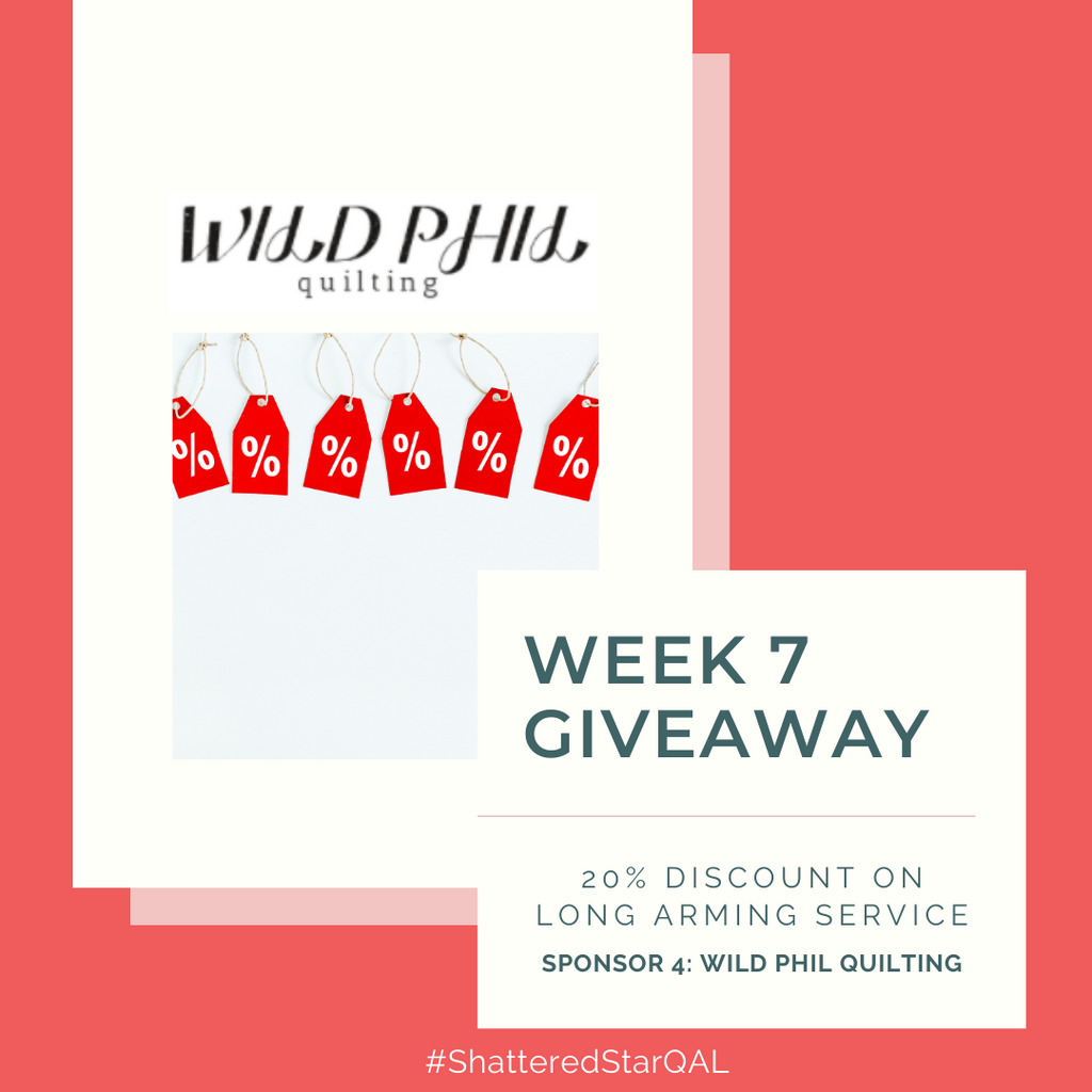 Discount on long arm quilting service from Wild Phil Quilting | Shattered Star Quilt Along Week 7 | Shannon Fraser Designs #quiltalong
