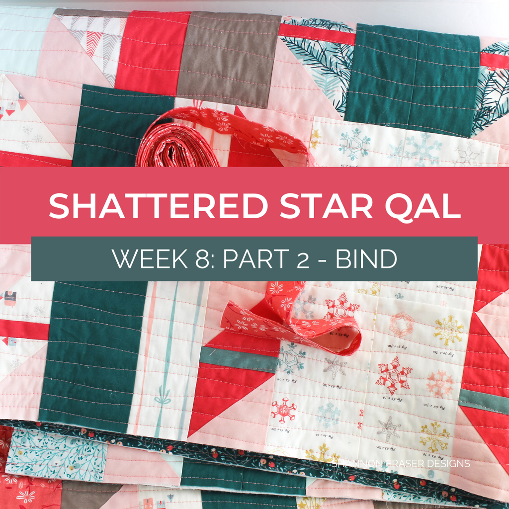 Holiday Shattered Star quilt with binding rolled up and ready to be attached | Shattered Star QAL Week 8 Part 2: How to bind your quilt | Shannon Fraser Designs #quilttutorial