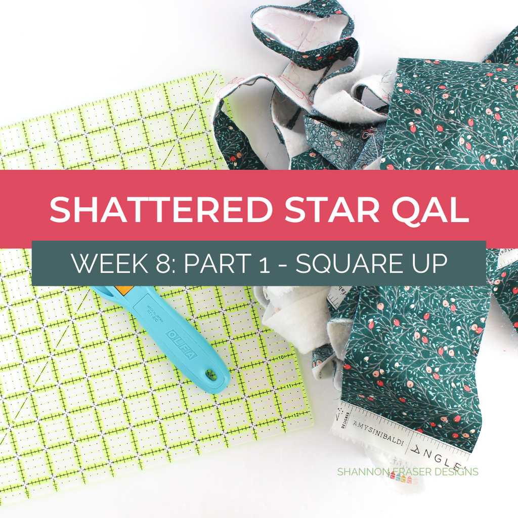 Square Omnigrip quilting ruler, Olfa splash rotary cutter and trimmings from squaring up the holiday Shattered Star Quilt | Tutorial: How to square up your quilt | Shannon Fraser Designs #quilttutorial