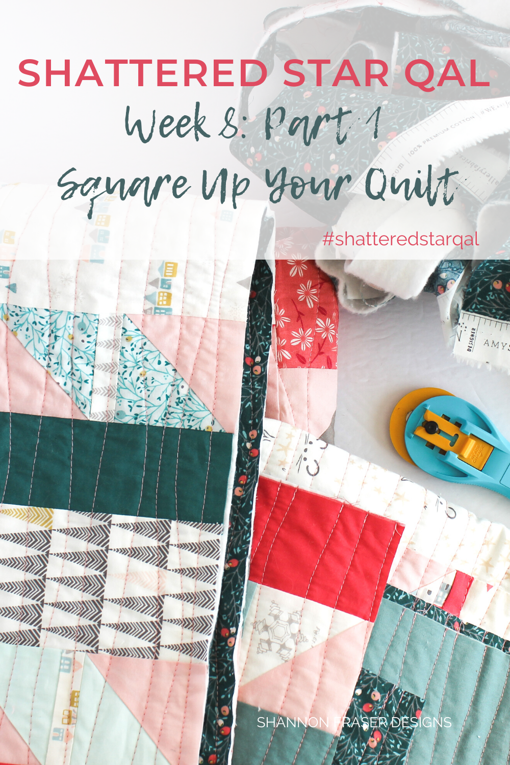 Holiday Shattered Star quilt freshly squared up | Shattered Star QAL Week 8: Part 1: How to square up your quilt | Shannon Fraser Designs #modernquilt