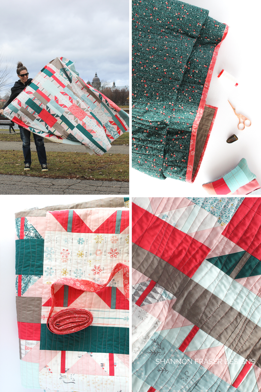 Shattered Star quilt - the holiday version, at various stages of the quilting journey | Shattered Star QAL Week 8: Part 2 - how to bind your quilt | Shannon Fraser Designs #modernquilt