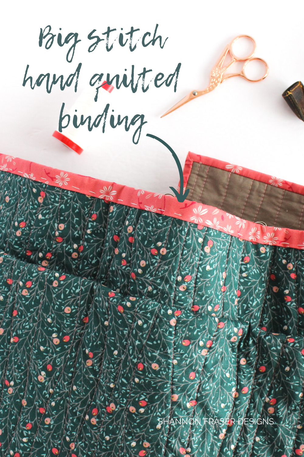Big stitch hand quilted binding using 12wt Aurifil Thread on the holiday Shattered Star Quilt | Quilt Tutorial: How to bind your quilt | Shannon Fraser Designs #quiltbinding