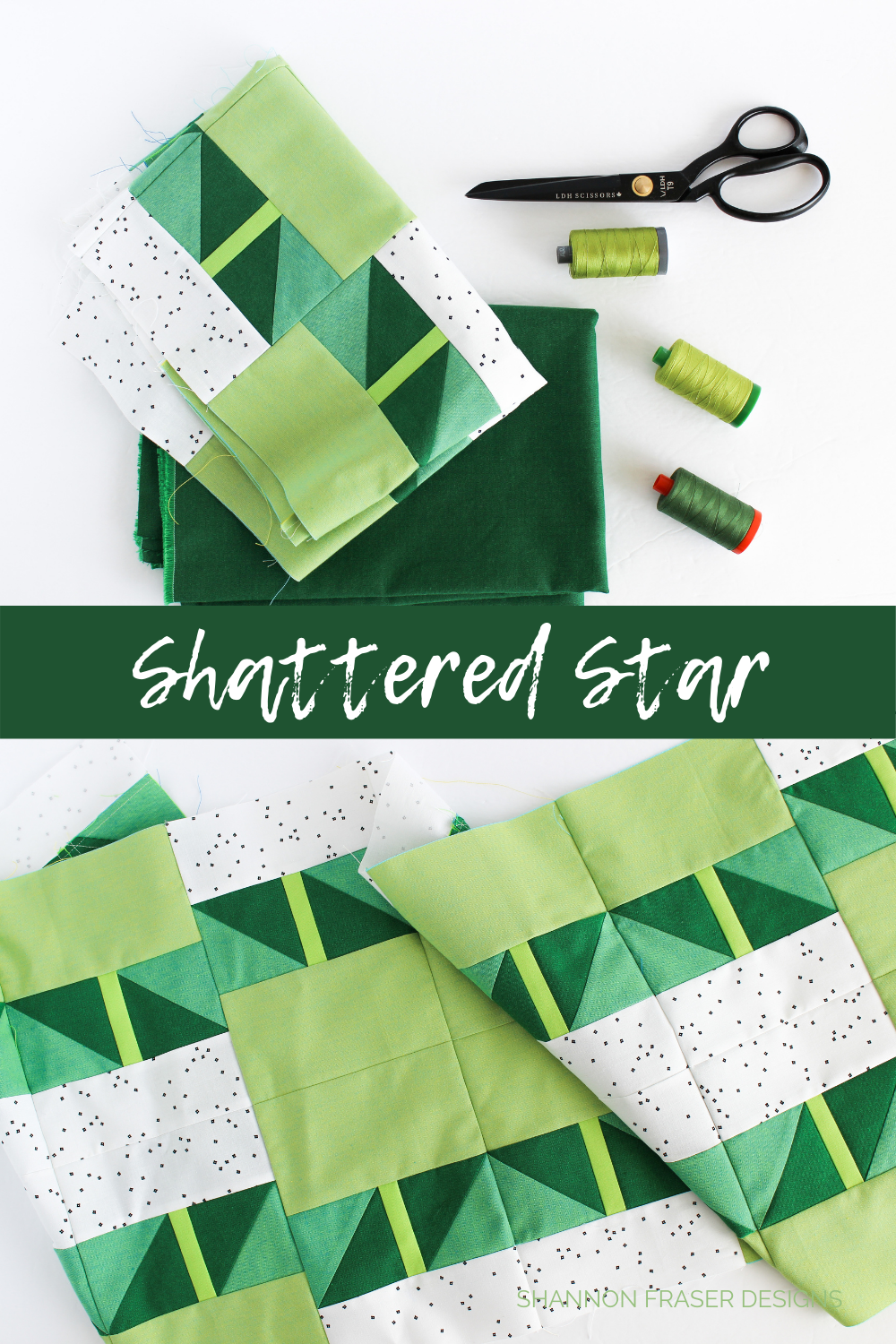 Shattered Star quilted table runner in green ombre Artisan Cottons | Modern quilt pattern by Shannon Fraser Designs #quilting