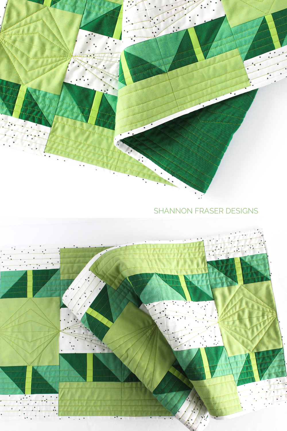 Shattered Star quilted table runner in green ombre | 7 reasons why quilted table runners make a great gift | Shannon Fraser Designs #tablelinens