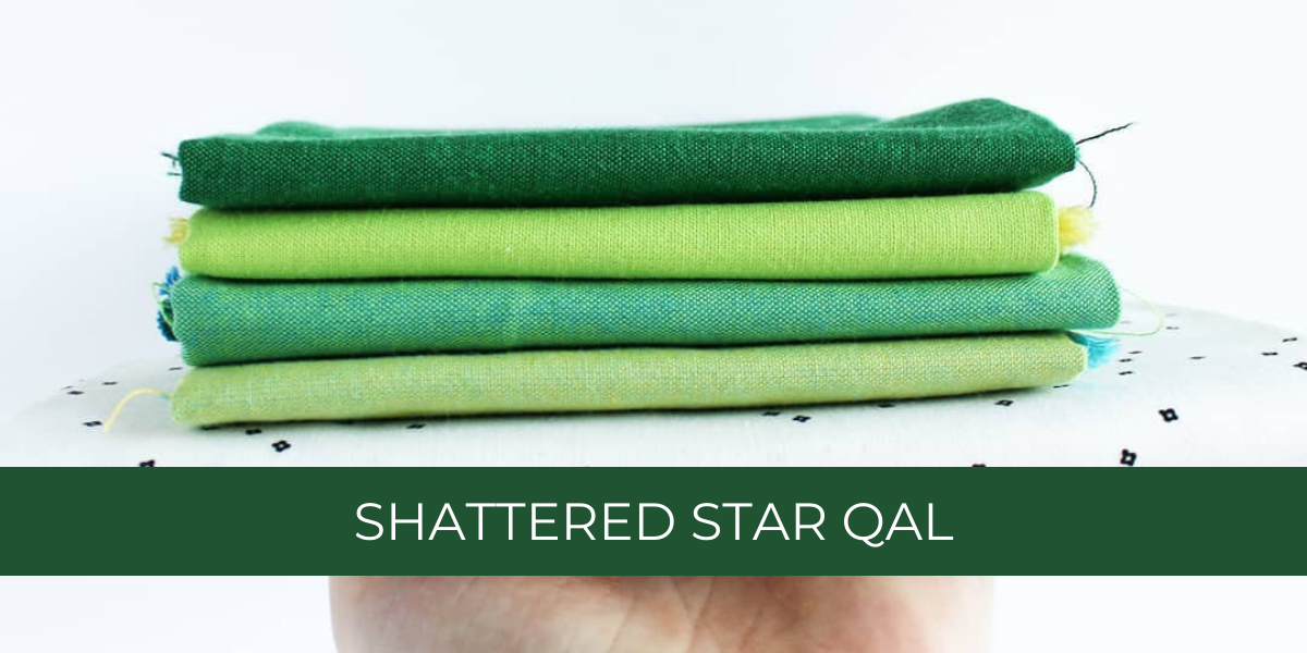 Green ombre fabric pull for the Shattered Star quilted table runner | Shannon Fraser Designs