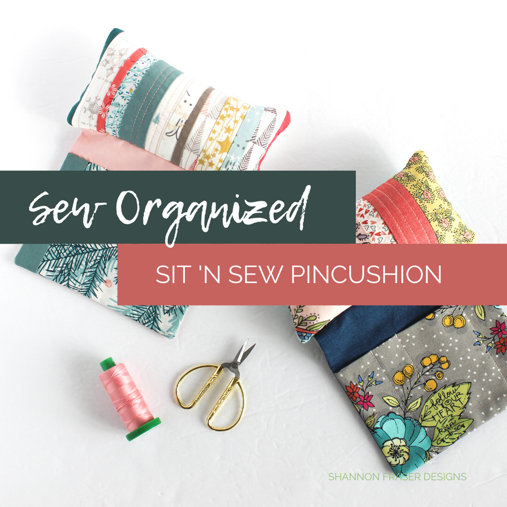 Sit 'n Sew Pincushions with a spool of Aurifil Thread in 40wt and a pair of gold LDH Scissors | Sew Organized Sit 'n Sew Pincushion | Shannon Fraser Designs #seworganized
