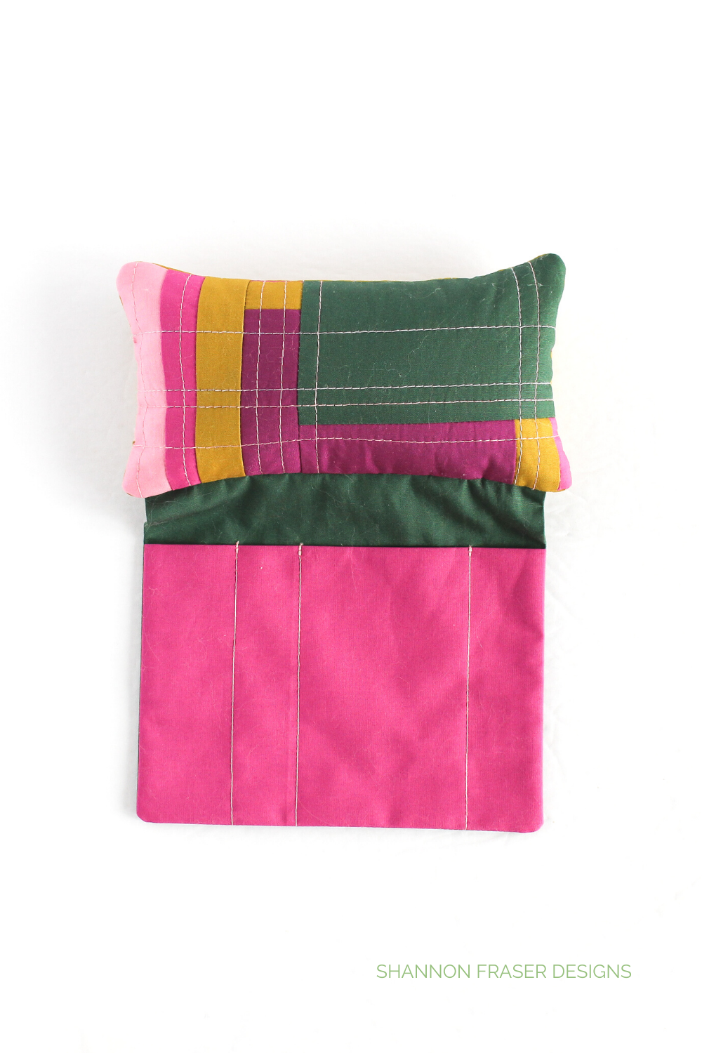 Sit 'n Sew Pincushion - AGF Pure Solids one! Pincushions are a great way to try improv quilting with your fabric scraps. Grab some solids and start piecing! | Shannon Fraser Designs #modernpincushion
