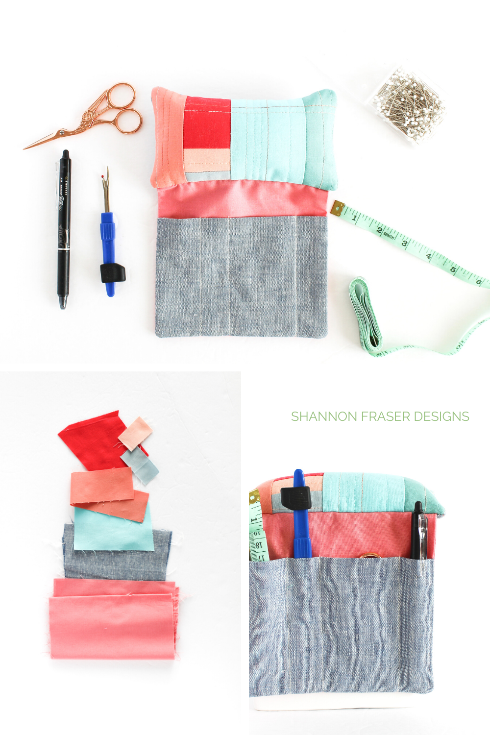 Kona Solids in bright corals and blues with linen scraps and then turned into a Sit 'n Sew pincushion | Sit 'n Sew Pincushion Pattern | Shannon Fraser Designs