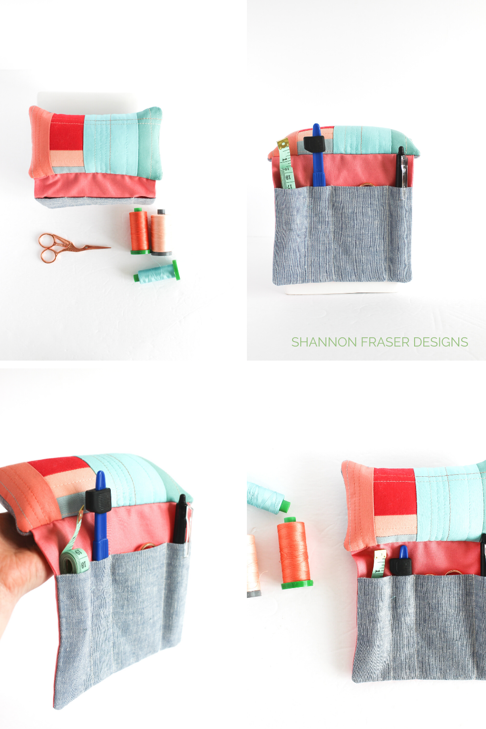 Coral, peach, turquoise and chambray linen Sit 'n Sew Pincushion | 2020 Mid-Year Goals Check-In | Shannon Fraser Designs #pincushion