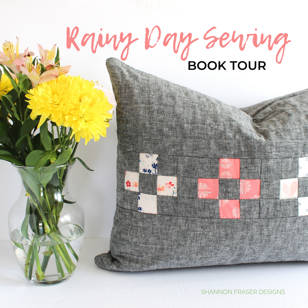 Spotlight cushion in gray linen + Paperie fabric collection | Rainy Day Sewing Book Tour | Shannon Fraser Designs #quiltedpillow