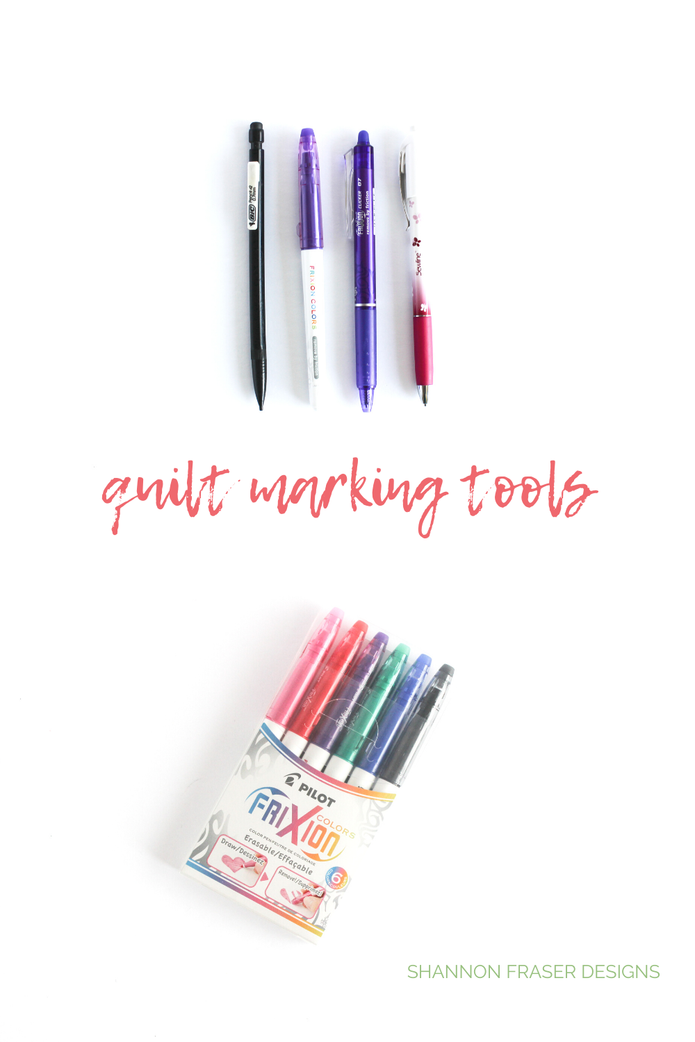 Line up of marking tools for quilters | Top 10 tools to get started quilting | Shannon Fraser Designs