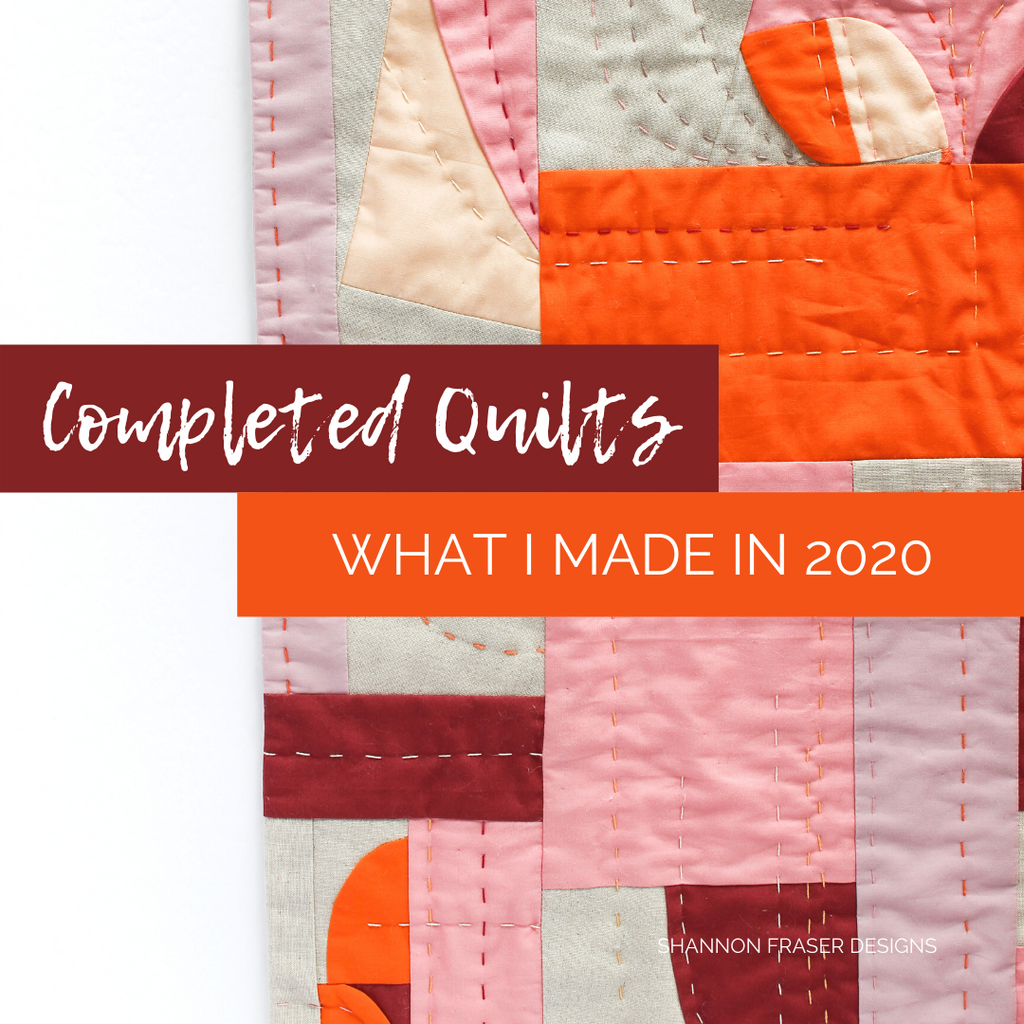 Quilts I completed in 2020 including this hand quilted modern improv wall hanging | modern fiber art | Shannon Fraser Designs #handquilted