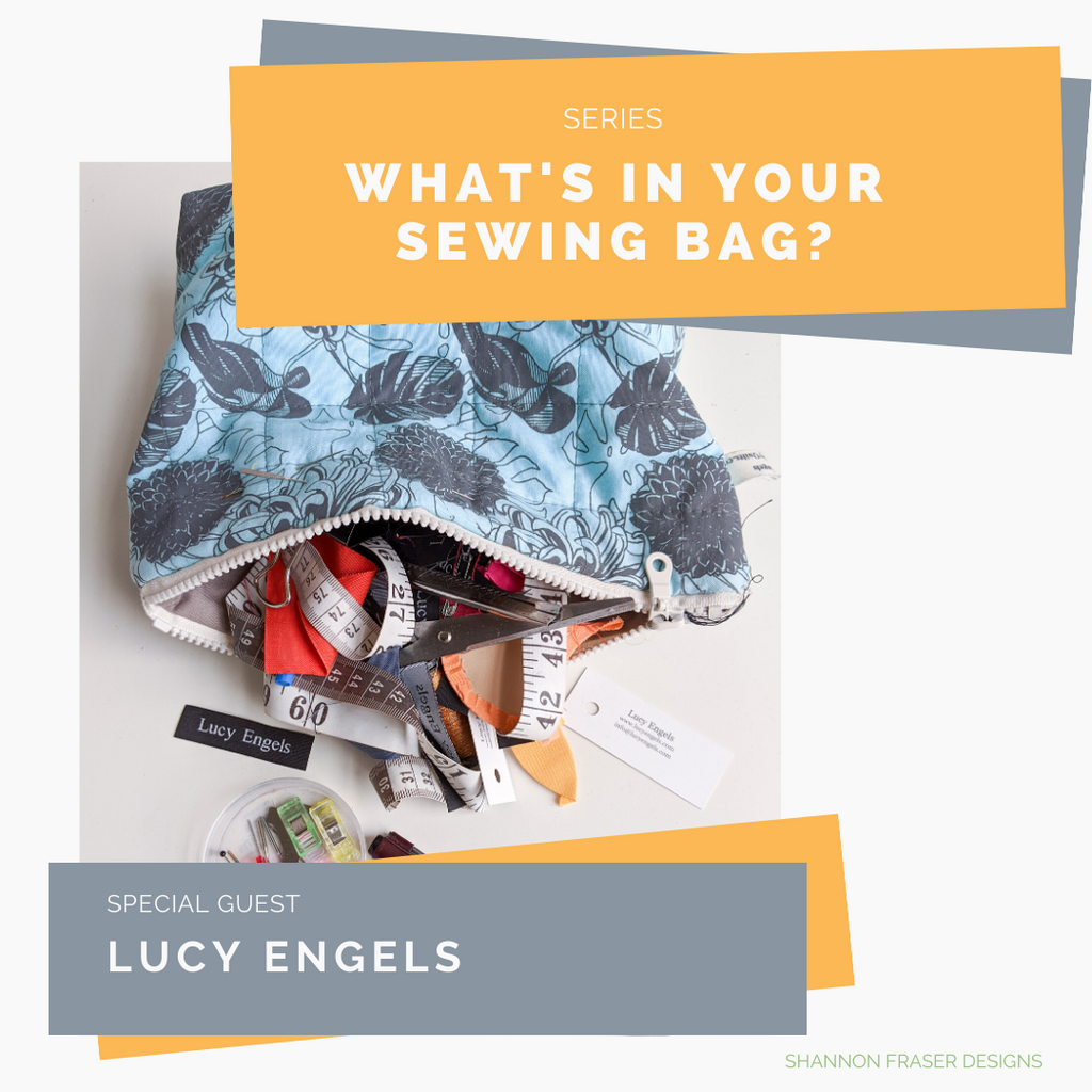 Handmade blue pouch with sewing notions spilling out | What's in your Sewing Bag Lucy Engels? | Shannon Fraser Designs #sewingnotions