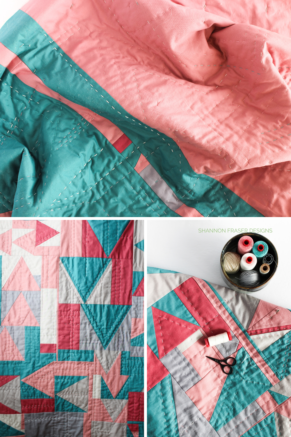 Which Way Up quilt hand quilted in 4 different thread weights for extra cozy texture and stitch dimension | Shannon Fraser Designs #texture