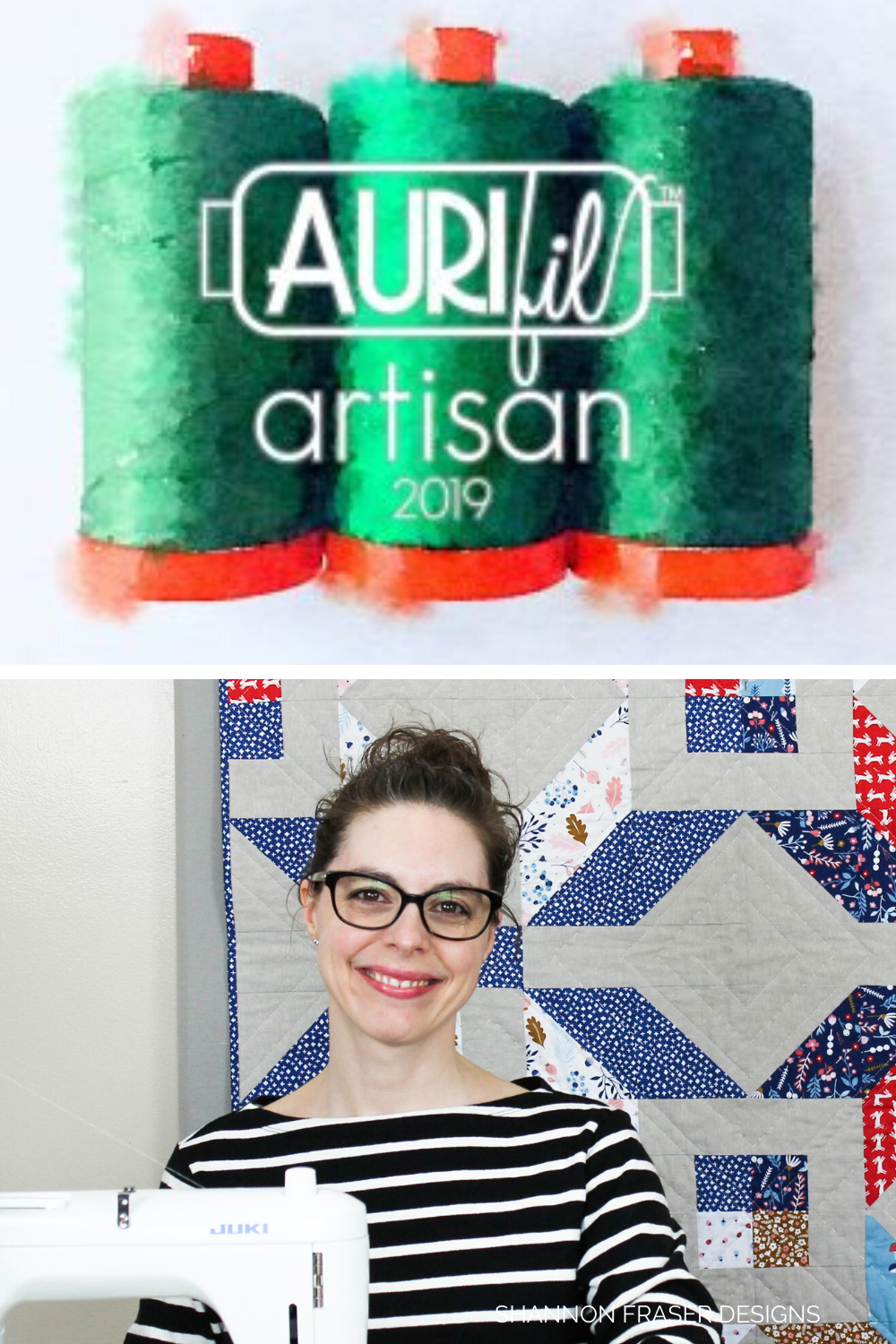 Aurifil Artisan 2019 Graphic + Shannon Fraser sitting at her sewing machine with a Winter Star quilt behind her | Why I love Aurifil Thread | Shannon Fraser Designs