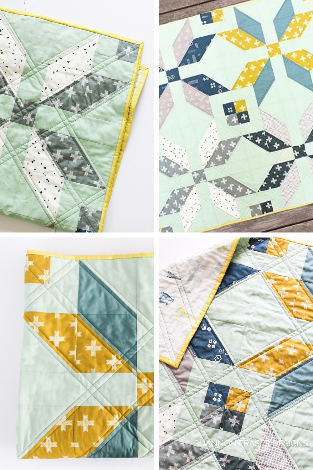 4 close up photos of the Winter Star quilt in Heartland fabric collection from Art Gallery Fabrics | Shannon Fraser Designs
