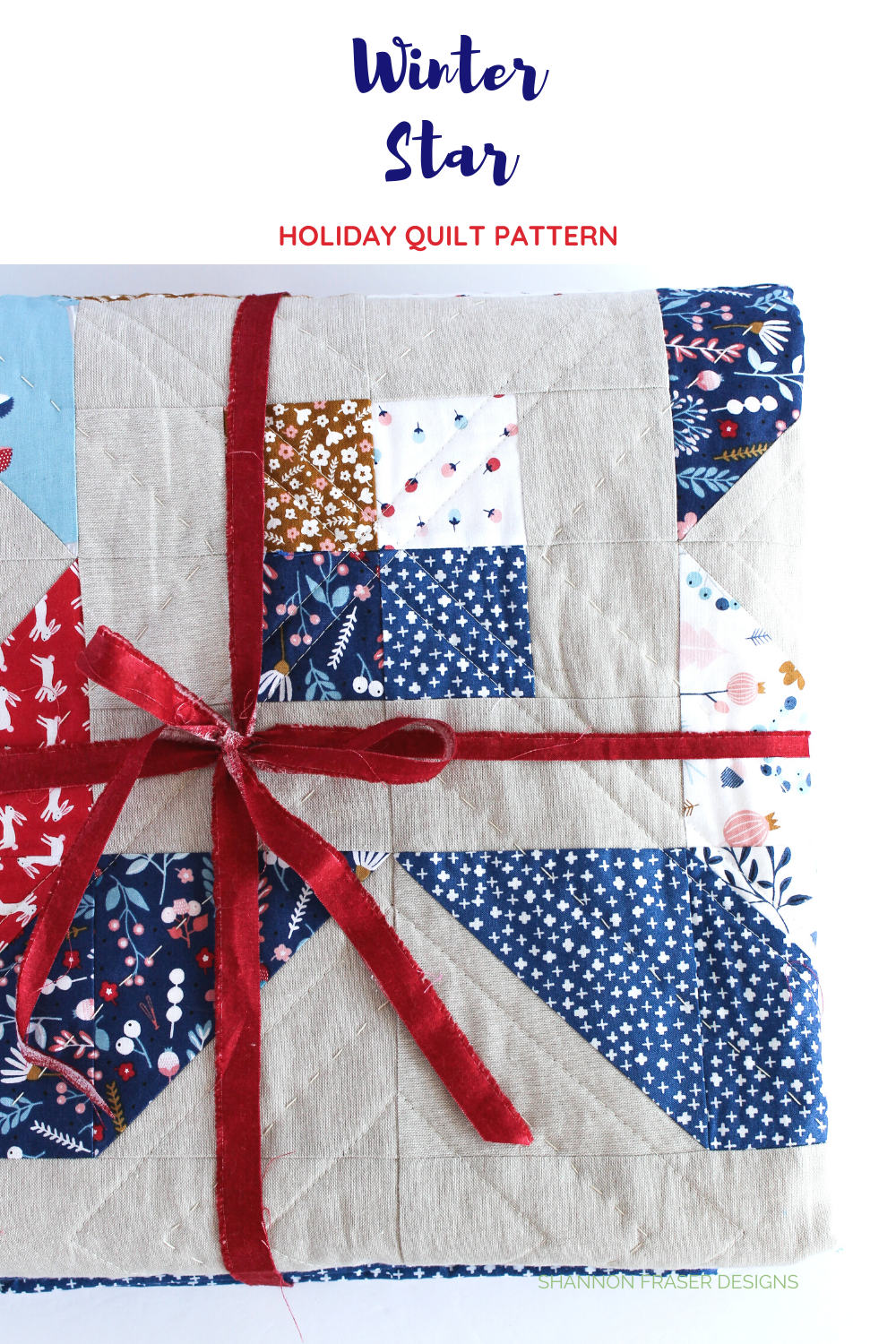 Winter Star lap quilt folded and tied with selvage from the red linen texture Makower UK | Winter Star beginner friendly quilt pattern | Shannon Fraser Designs #selvage