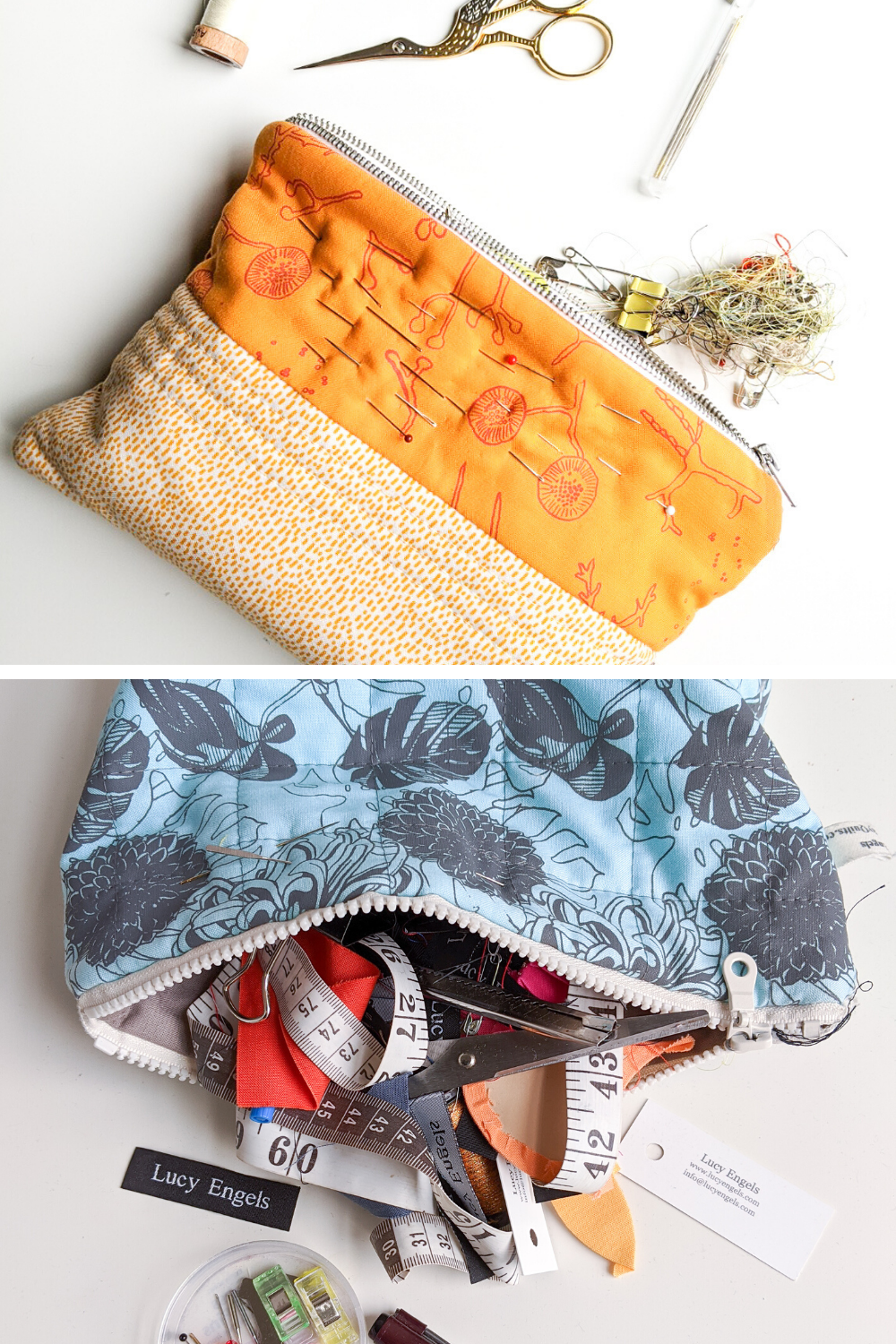 Custom zip pouches in yellow and blue with quilting notions spilling out | What's in your sewing bag Lucy Engels? | Shannon Fraser Designs #sewing