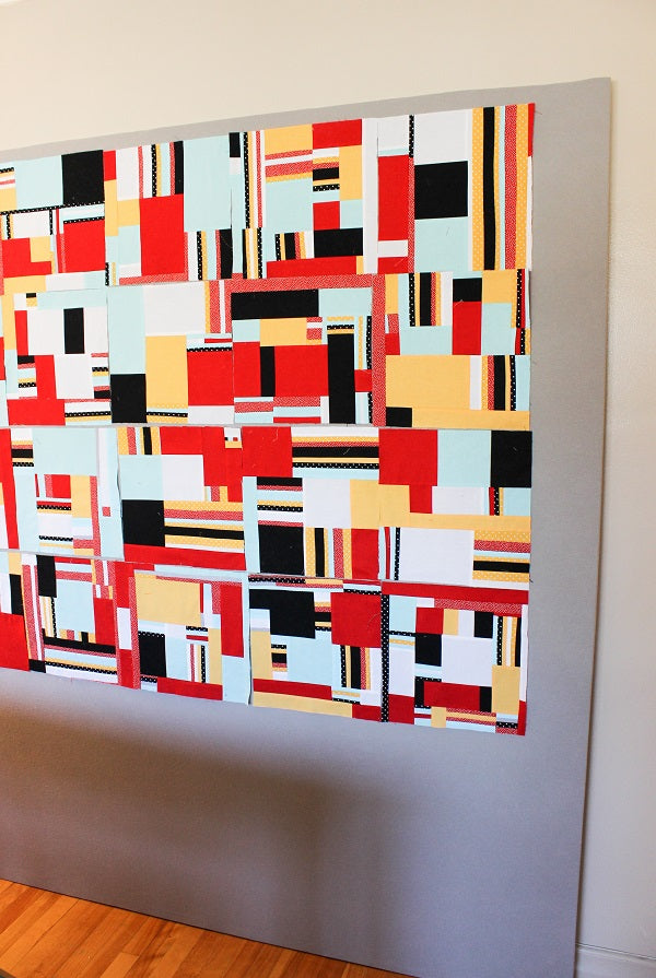 Mondrian improv quilt top hanging on my DIY design wall | Tutorial | Shannon Fraser Designs