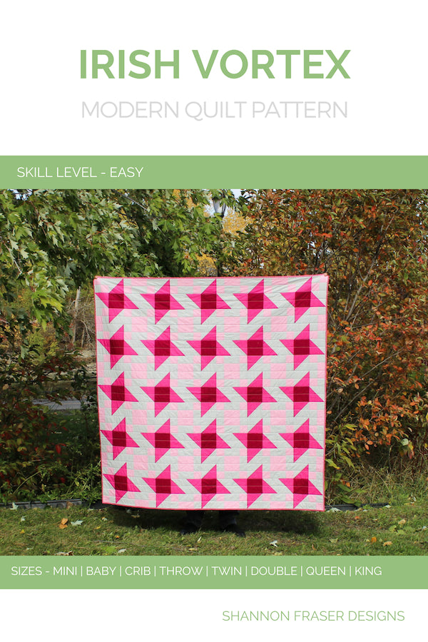 Irish Vortex Quilt Pattern (PDF) | Modern Star quilt shown in throw size | Shannon Fraser Designs