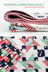 Home for the Holidays Irish Vortex Quilt is a modern Christmas quilt. Easy and quick to piece modern quilt pattern