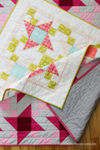 Load image into Gallery viewer, Irish Vortex Quilt Pattern (PDF) | Modern Star Quilt shown in Baby and Throw size