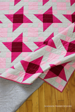 Load image into Gallery viewer, Irish Vortex Quilt Pattern (PDF) | Pink ombré star quilt | Shannon Fraser Designs