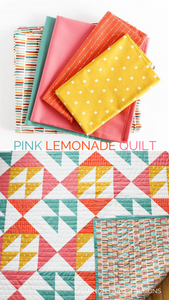Pink Lemonade lap size quilt featuring Kona Cotton, Blueberry Park and Cotton and Steel fabrics.