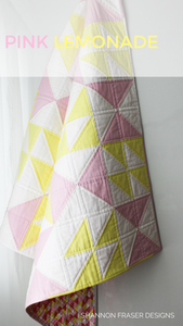 Pink Lemonade quilt pattern is an easy modern quilt pattern with 5 quilt sizes to choose from: baby , lap, double and queen. #modernnursery #quilting