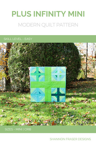 The Plus Infinity Mini Quilt is a perfect beginner quilt pattern that can be stitched up in a weekend. Make either the wall hanging or crib sizes for fun DIY nursery décor.