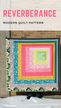 "Load image into Gallery viewer, Modern log cabin quilt pattern to show off your favorite fabrics! Makes a generous lap size quilt 63""x63"". Easy to make and perfect for beginner quilters. #modernquilting #modernquilts #quilters #diyhomedecor"