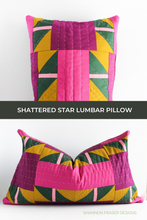Load image into Gallery viewer, Hand quilted Shattered Star lumbar pillow featuring AGF Pure solids and Aurifil thread in 12wt for the hand quilted stitches | Modern quilt pattern | Shannon Fraser Designs #handquilted