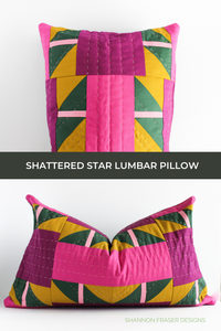 Hand quilted Shattered Star lumbar pillow featuring AGF Pure solids and Aurifil thread in 12wt for the hand quilted stitches | Modern quilt pattern | Shannon Fraser Designs #handquilted