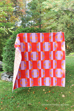 Load image into Gallery viewer, Shattered Star Quilt - the Ruby & Bee solids version out in the Fall wild. Modern Quilt pattern featuring 7 sizes from baby through king. Beginner friendly too! Shannon Fraser Designs #quiltsinthewild