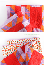 Load image into Gallery viewer, Quilting details on the Shattered Star lap quilt featuring Ruby & Bee solids in purple, orange, pink, red and lilac. Modern beginner friendly quilt pattern by Shannon Fraser Designs #quilt