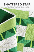 Load image into Gallery viewer, Shattered Star modern table runner quilt pattern is a beginner friendly pattern available in 3 sizes to cover all your table decor needs! #tablerunner