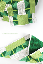 Load image into Gallery viewer, Shattered Star quilted table runner featured in green ombré Artisan Cotton solids | fat quarter friendly modern quilt pattern | Shannon Fraser Designs #quilt